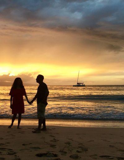 Enjoying the sunset in Maui, Hawaii