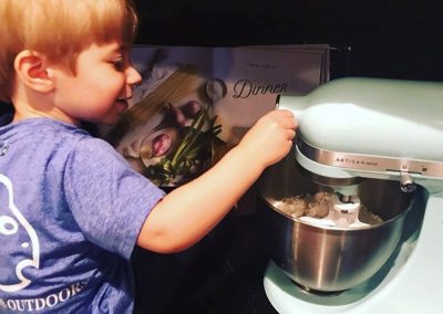 We make cookies and cakes every few weeks and we have the best helper.